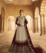 Buy Cream embroidered silk salwar