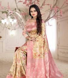 beige woven organza silk saree with blouse piece