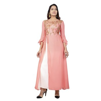 Pink White Embroidererd Kurta