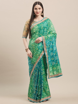 Green & Golden Silk Bandhani & Jari Embroidery with Lace Border Saree With Blouse