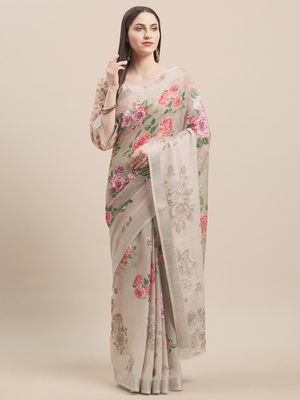 Beige Linen Cotton Floral Print With Zari Border Saree With Blouse