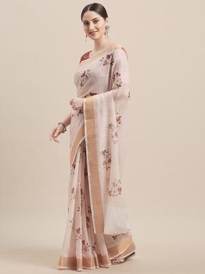 Pink & Multi Linen Cotton Floral Print Saree With Blouse