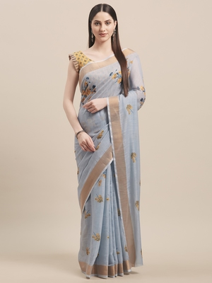 Blue & Yellow Linen Cotton Floral Print Saree With Blouse