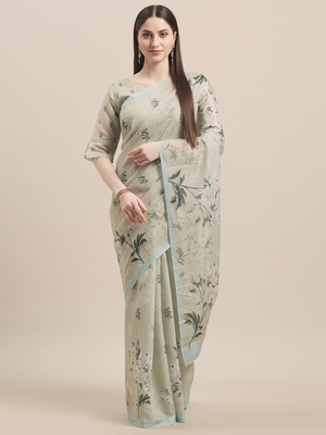 green Green & Multi Linen Cotton Floral Print With Weaving Checks Saree With Blouse