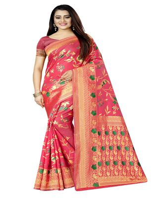 Women's magenta Silk Jacquard Designer Saree With Foil Floral Prints