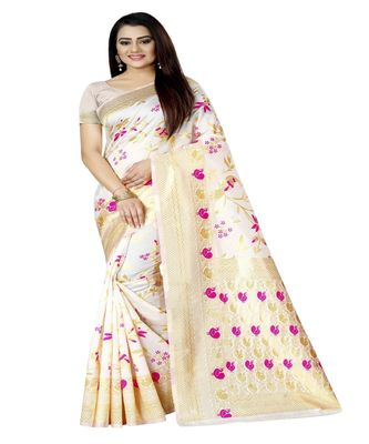 Women's white Silk Jacquard Designer Saree With Foil Floral Prints