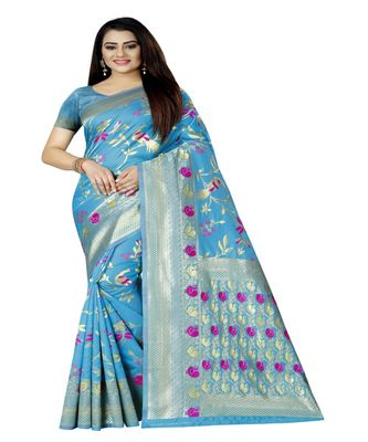 Women's blue Silk Jacquard Designer Saree With Foil Floral Prints