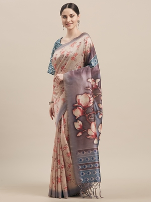 Multi Silk Blend Floral Print With Tassels Saree With Blouse