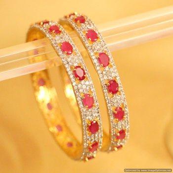 Diamond Look Elegant Ruby Bangles