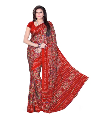 Red printed crepe bandhani saree with blouse