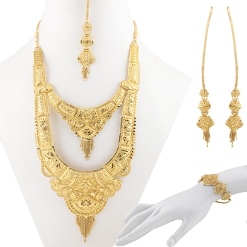 Gold Plated Adjustable Traditional Jewellery Long Set For Women Girl