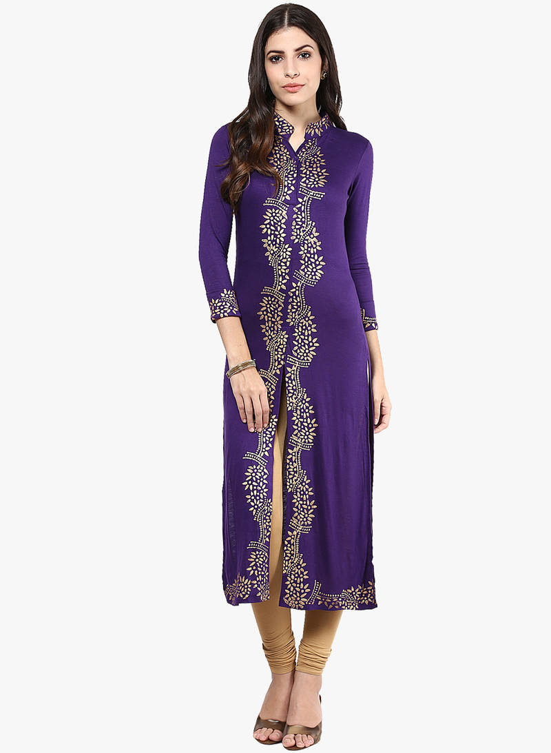 Buy Women Viscose Knitted Purple Long Kurta Kurti Online