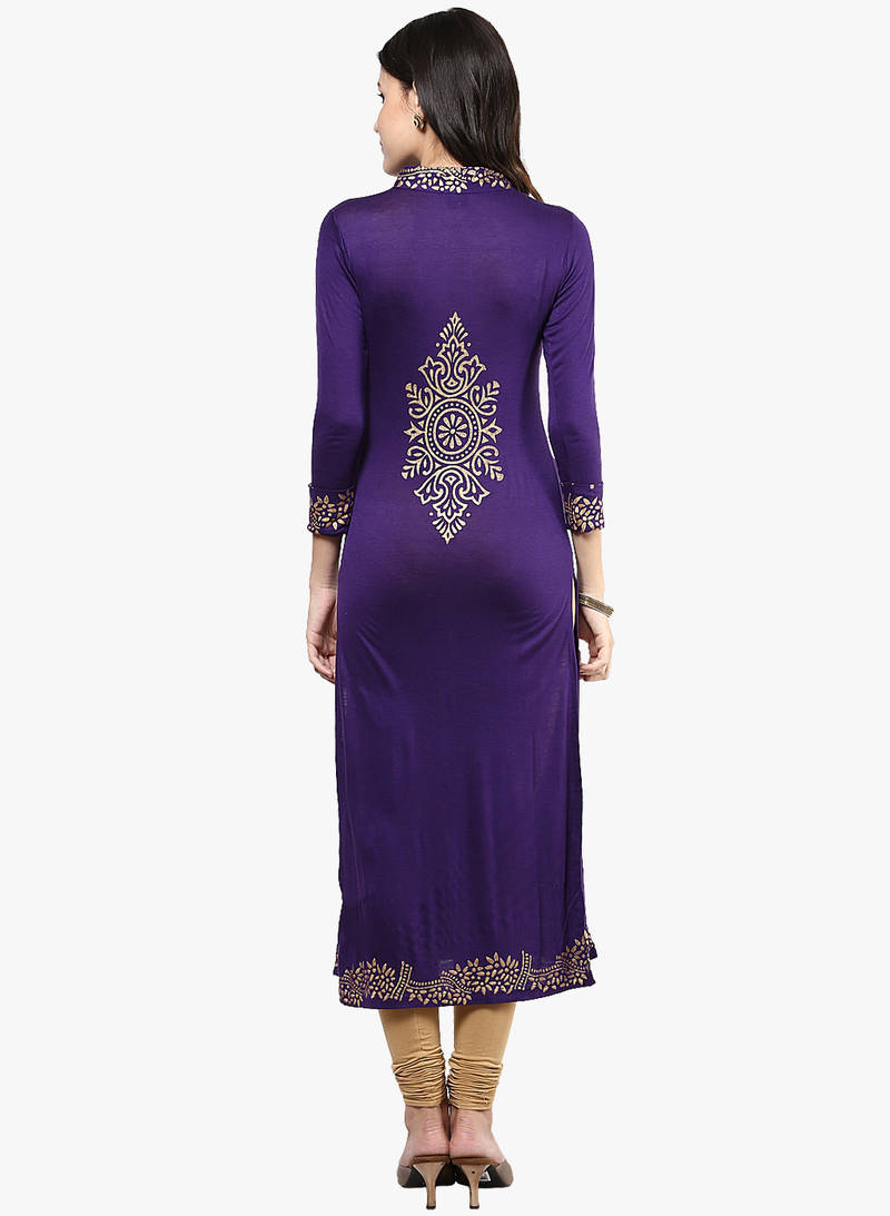 Buy Women Viscose Knitted Purple Long Kurta Kurti Online Kemeja Lavender Contrast Multicolor Shop At Velvet