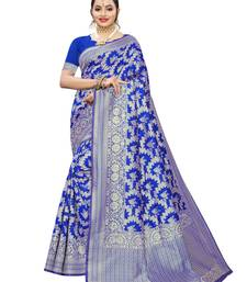 Royal blue woven poly silk saree with blouse