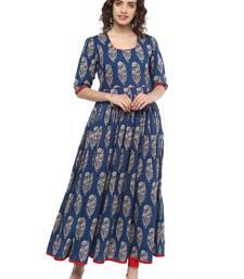 Royal-blue printed cotton long-kurtis