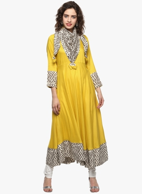 Yellow plain viscose rayon long-kurtis