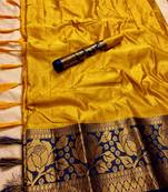 Buy YELLOW BLUE WOVEN ART SILK SAREE WITH BLOUSE