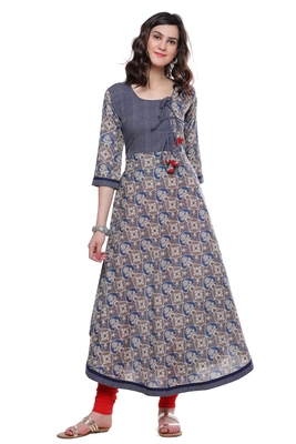 Blue printed cotton long-kurtis