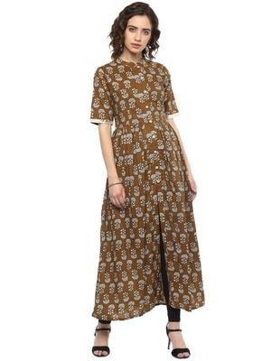 Brown printed cotton long-kurtis