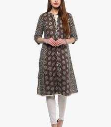 Grey printed cotton ethnic-kurtis