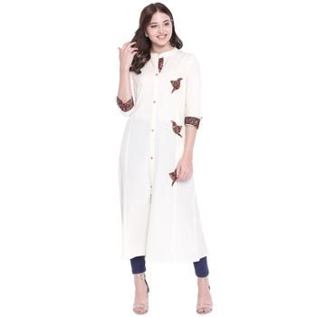 Off-white plain cotton ethnic-kurtis