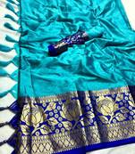 Buy SKY BLUE AND BLUE WOVEN ART SILK SAREE WITH BLOUSE