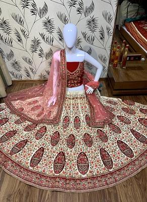 Off-White Embroidered Satin Semi Stitched Lehenga