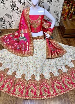 Off-White Embroidered Silk Semi Stitched Lehenga