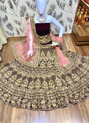 Purple Embroidered Velvet Semi Stitched Lehenga
