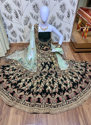 Green Embroidered Velvet Semi Stitched Lehenga
