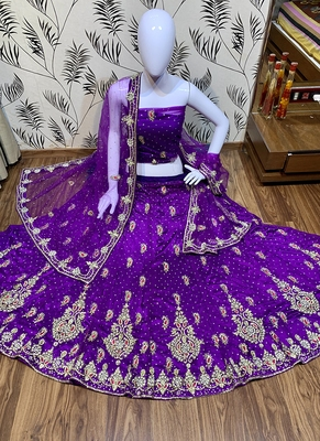 Purple Embroidered Net Semi Stitched Lehenga