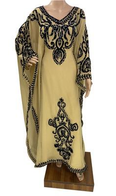 beige georgette moroccan islamic dubai kaftan farasha aari and stone work dress