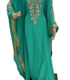 sea green georgette moroccan islamic dubai kaftan farasha zari and stone work dress