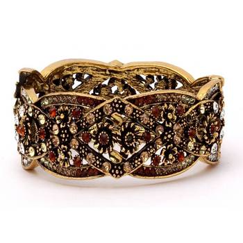Antique Bangle in Gold and Maroon