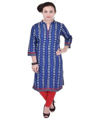 Women blue Printed, stripes_printed Straight Kurta