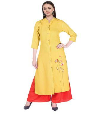 Women Mustard Embroidered Frontslit Kurta