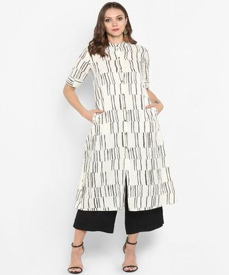 Women light-off-white Printed A-line Kurta