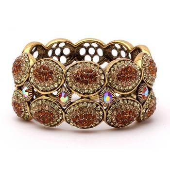 Dazzling Antique Bangle in Gold and Maroon