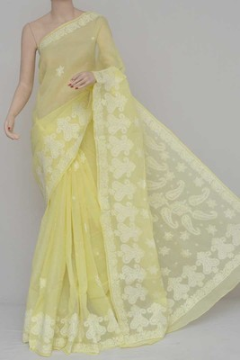 Yellow Color Cotton Designer Hand Embroidered Lucknowi Chikankari Saree