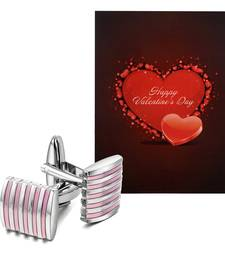 Valentine'S Special V'Day Greeting Card With Pink Silver Unique Shirt Cufflinks Gift For Men