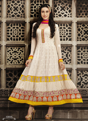 Off White embroidered Pure Georgette semi stitched salwar with dupatta