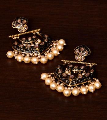 Kundan and Pearls Embellished Designer Earrings 217ED213