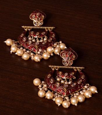 Kundan and Pearls Embellished Designer Earrings 217ED216