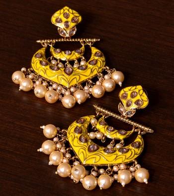Kundan and Pearls Embellished Designer Earrings 217ED217