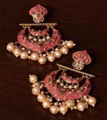 Kundan and Pearls Embellished Designer Earrings 217ED219