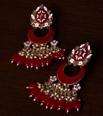Meenakari Worked and Pearl Embellished Danglers 217ED237