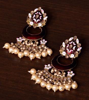Meenakari Worked and Pearl Embellished Danglers 217ED248