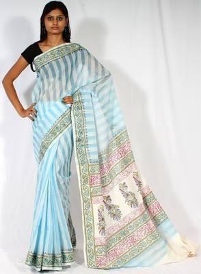 Cotton fancy aanchal border saree