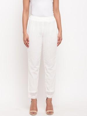 White Crinkled Pant