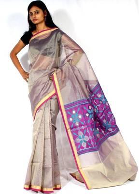 Organza fancy aanchal border Banarasi saree